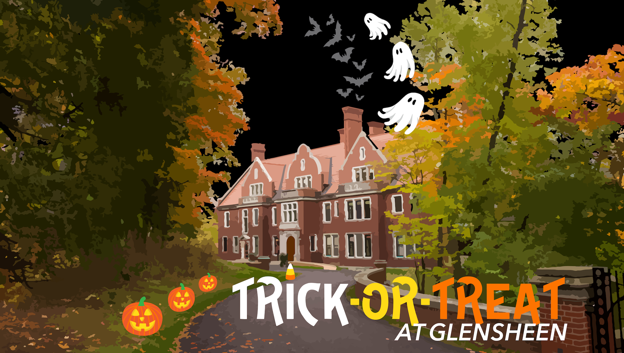 Trick-Or-Treating at Glensheen Mansion with illustrated ghosts and pumpkin graphics