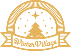 Illustrated tree with the text 'Winter Village' in a graphic ribbon