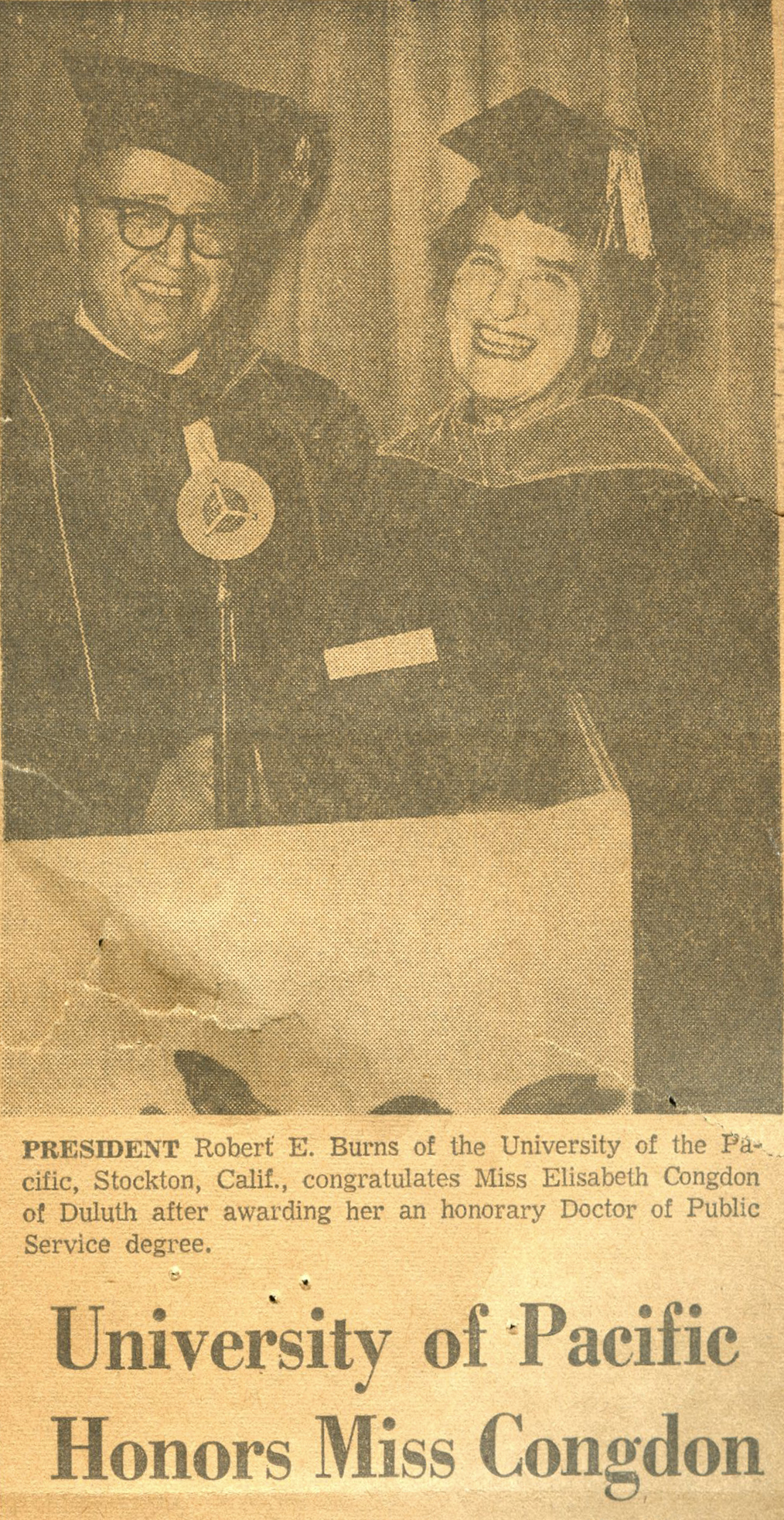 A newspaper clipping of Elisabeth Congdon being honored by the University of Pacific.