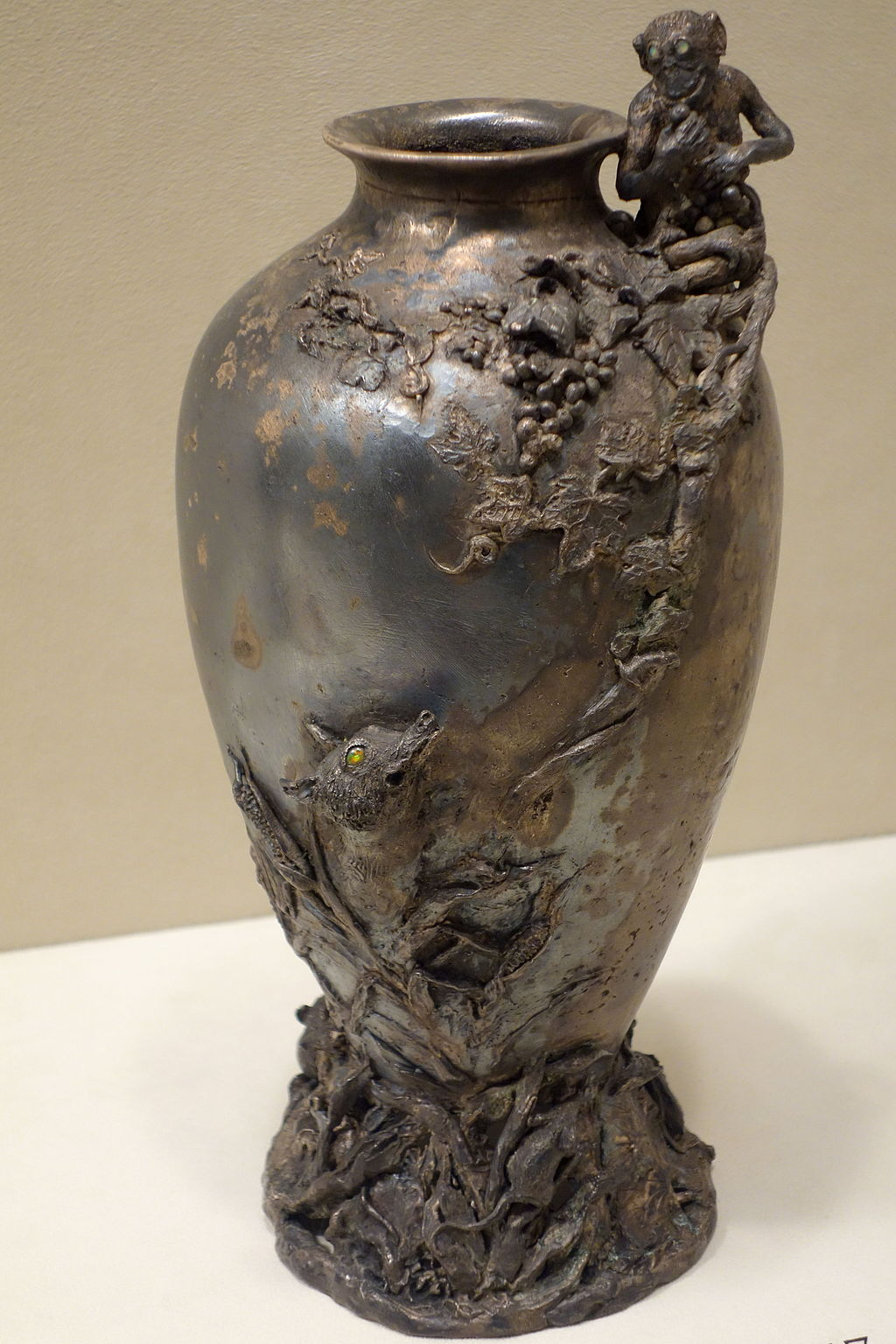 An intricate vase that is an example of the crafstmanship Marie Longworth Storer pioneered.