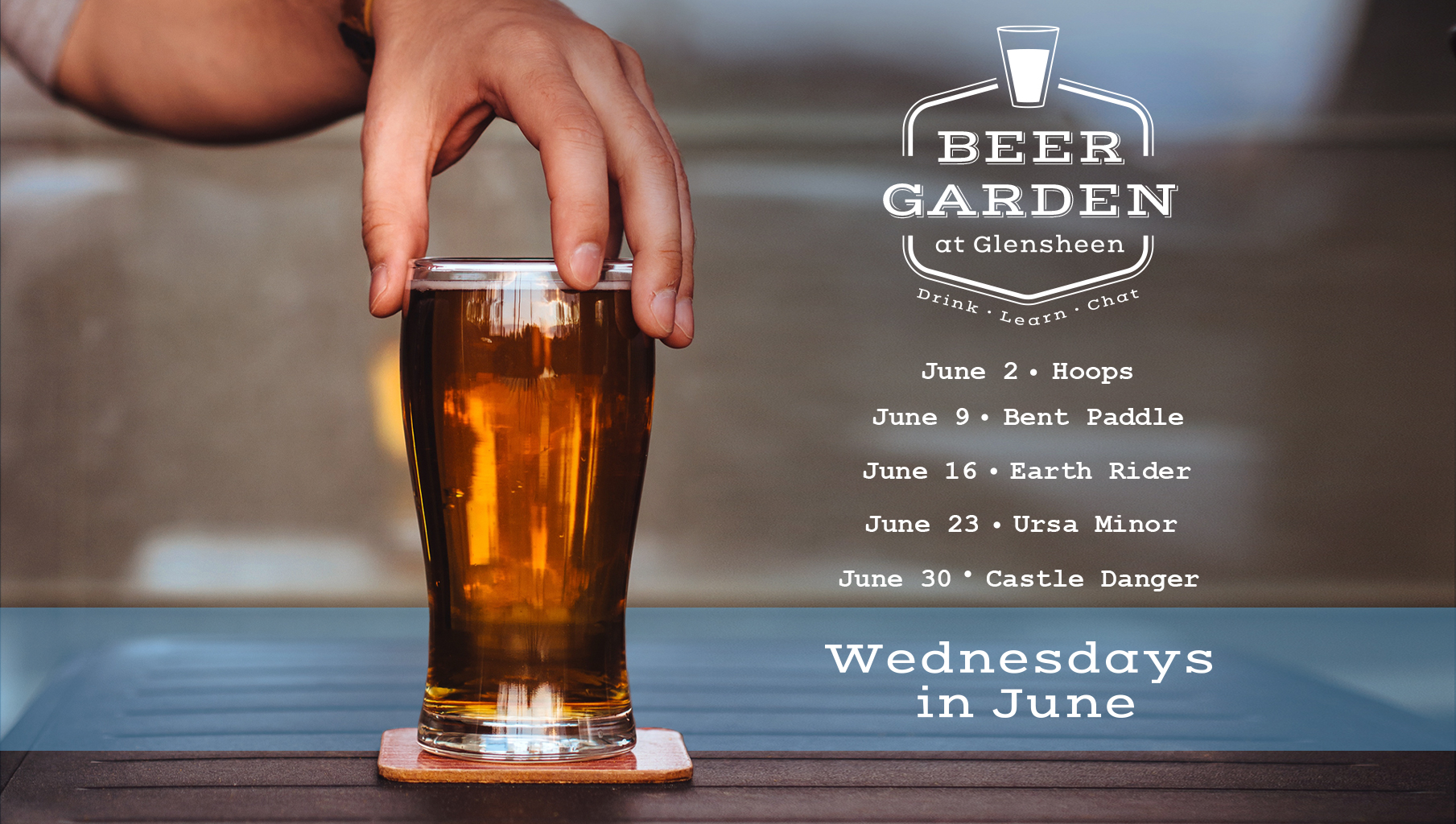 glass of beer with hand and beer garden event dates